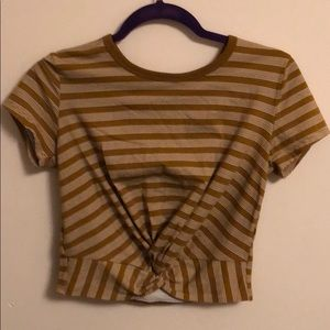 Olive Green Striped Stretchy Crop Tee